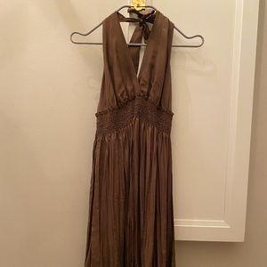 Pure chocolate silk open shoulder dress